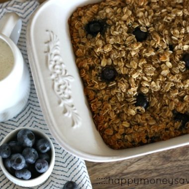 This Baked Blueberry Oatmeal is the perfect addition to a breakfast or brunch. This gorgeous dish is served hot with fresh cream or milk drizzled on top.