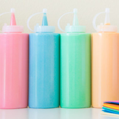 Make your own non toxic paint with 3 easy ingredients. All you need is flour, water and food coloring. 100% kid safe and 100% fun!
