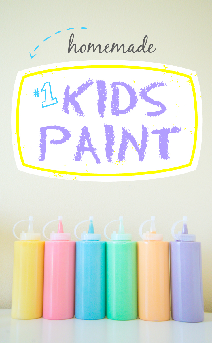 """6 squeeze bottles filled with different colors of paint with a sign above saying """"Homemade #1 Kids Paint."""""""