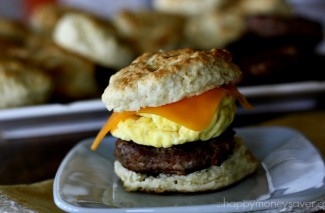 Sausage Egg and Cheese Biscuits {Freezer Meal Breakfast Sandwiches}