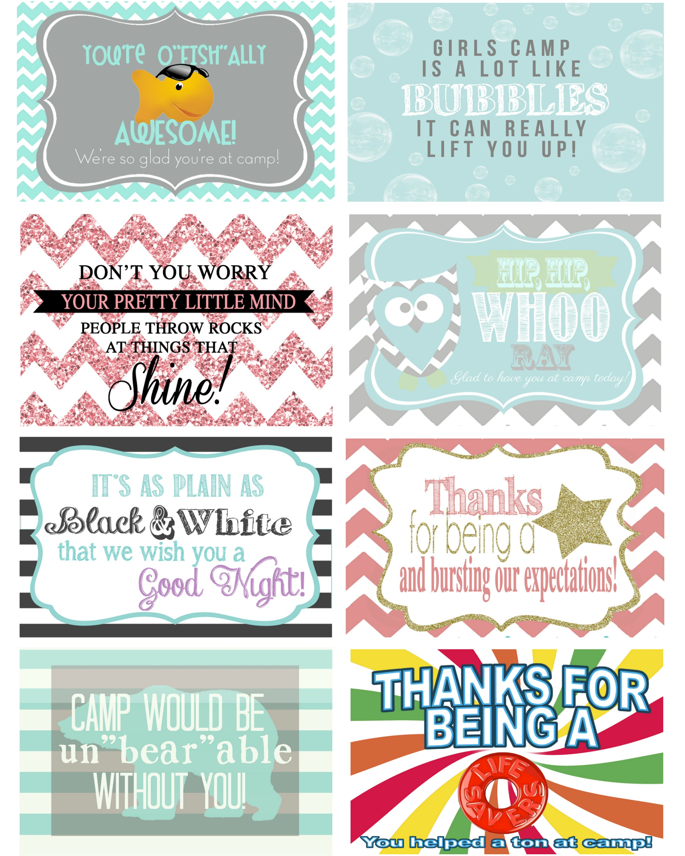 Random Acts of Camp Kindness - Girls camp free printables