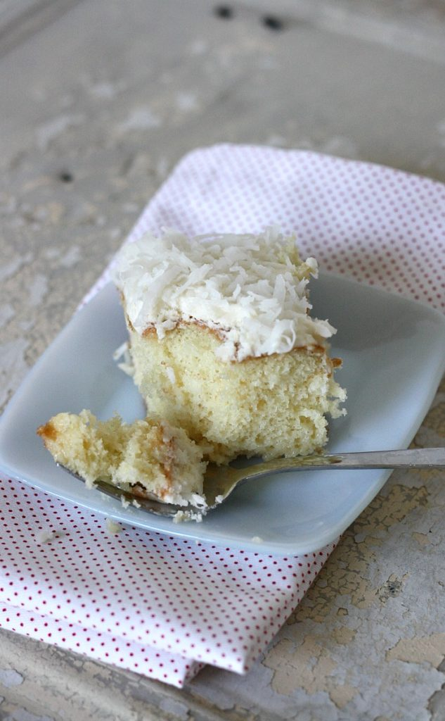Coconut Cream Poke Cake - uses cream of coconut and sweetened condensed milk to make it so moist. My new favorite cake!!!