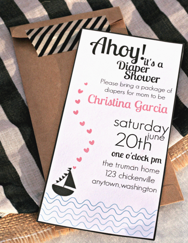 Free Printable Nautical Themed Baby Shower Invitations