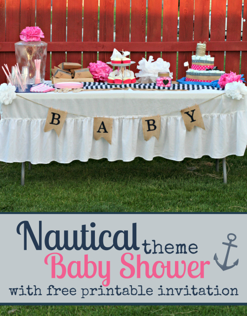 Nautical Themed Baby Shower with FREE baby shower invitation printables! Perfect for a baby girl.