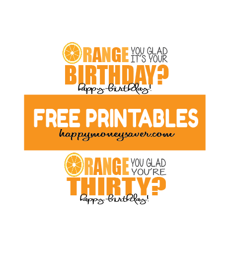 Choose from two printables for this Orange Basket Package. #happythoughts #happybirthday #orange