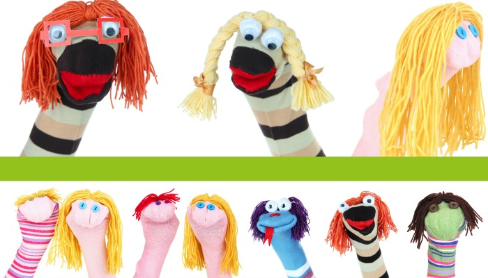 Use your extra socks to make hand puppets with your kids!  So easy and fun!