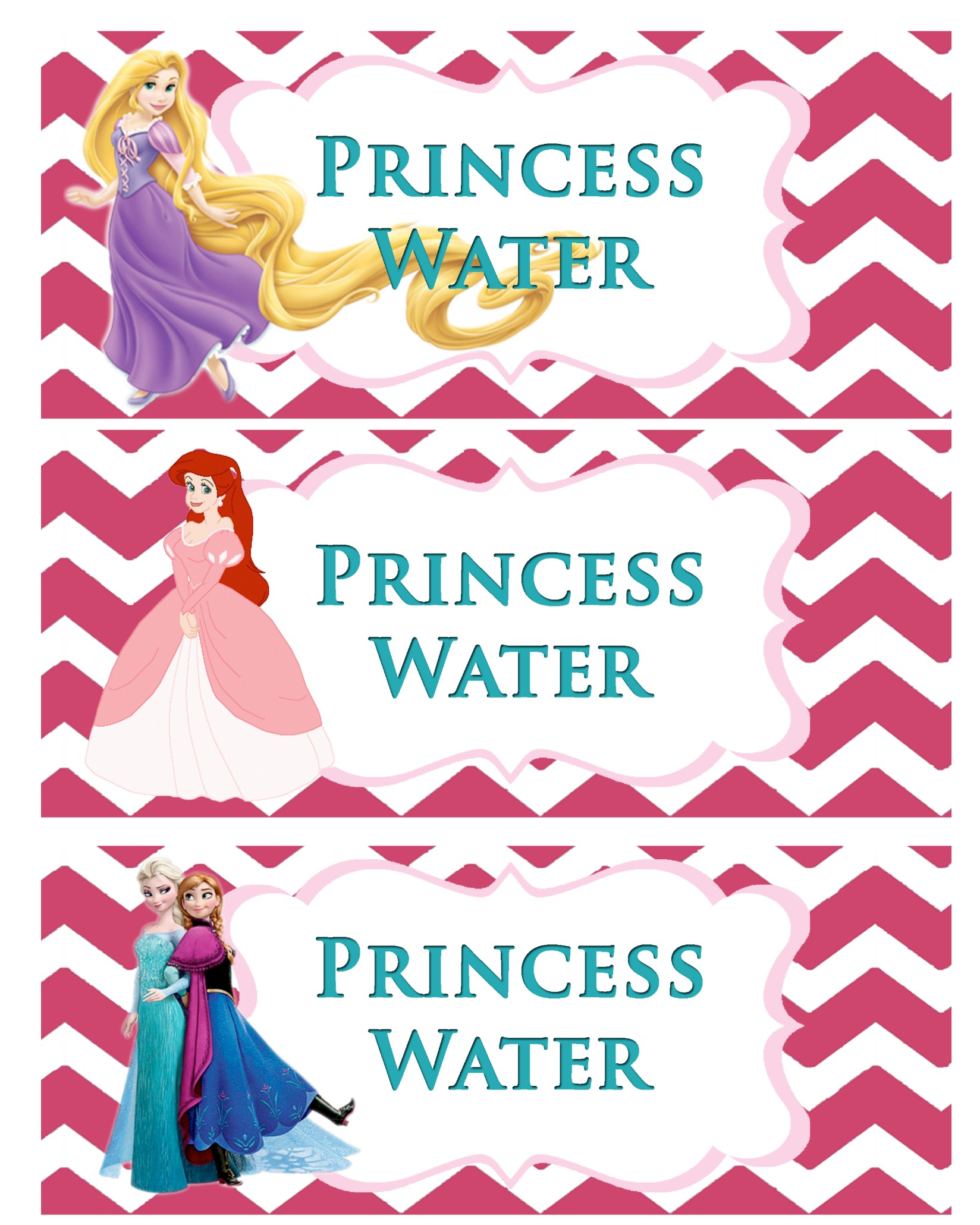 princess party printable click here for the princess water