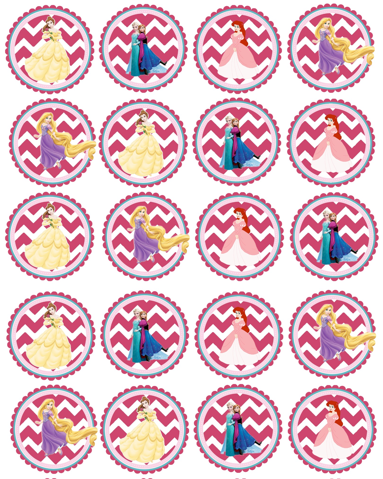 picture relating to Disney Princess Cupcake Toppers Free Printable named Princess Get together-Cost-free Printable