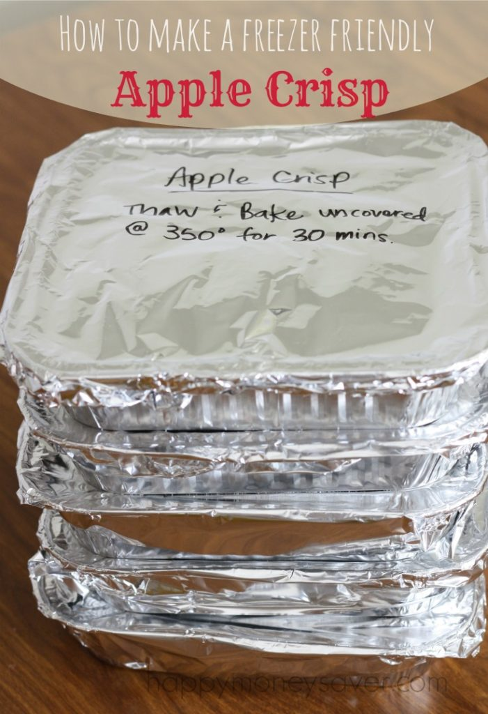 freezer apple crisp - three stacked foil wrapped baking pans