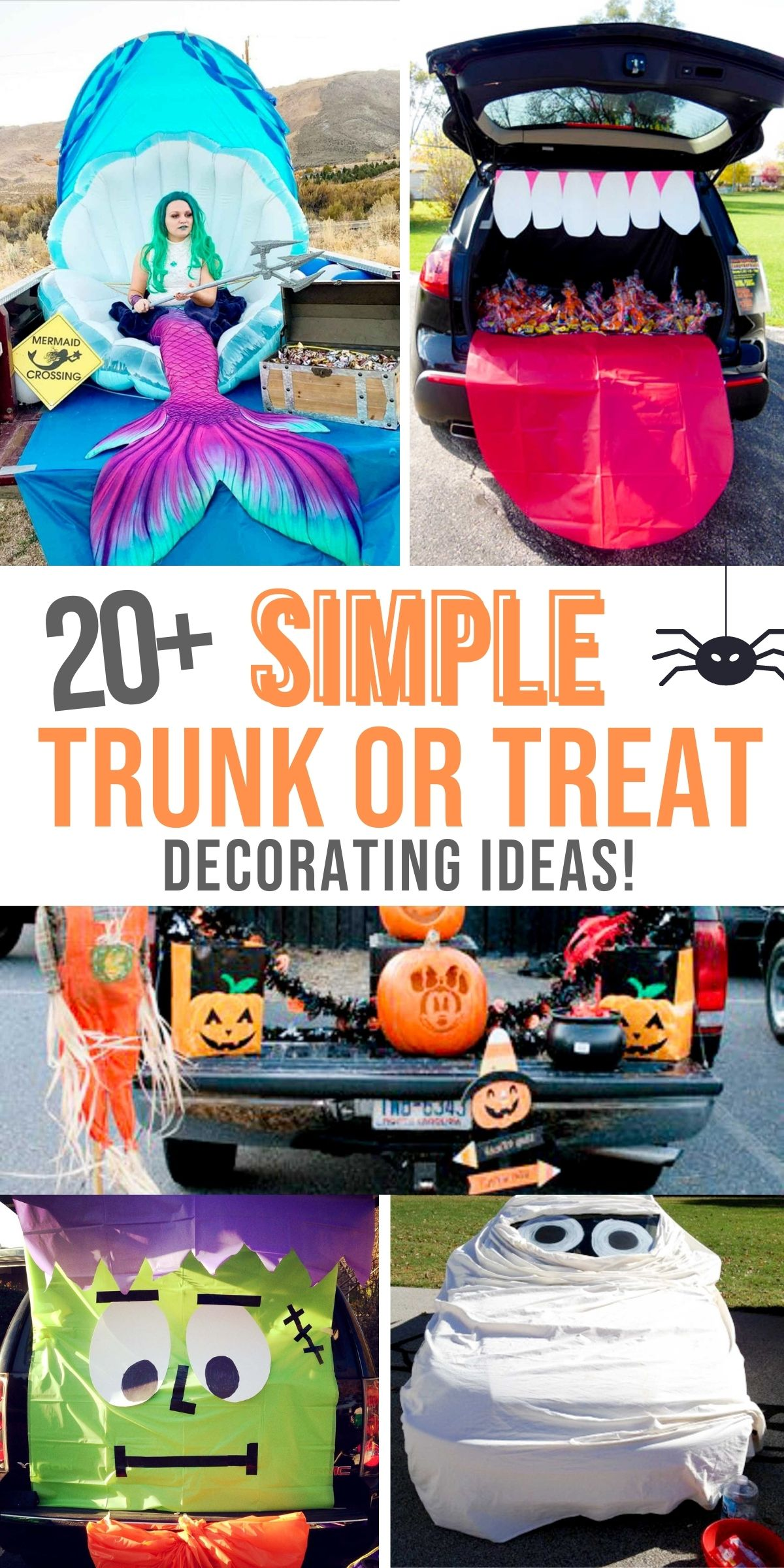 Trunk or Treat decorating ideas including a mermaid in the back of a trunk, a trunk of a black car with a red tongue hanging out and white teeth,  a car wrapped like a mummy, a car decorated like frankenstein and a truck bed decorated with pumpkins.