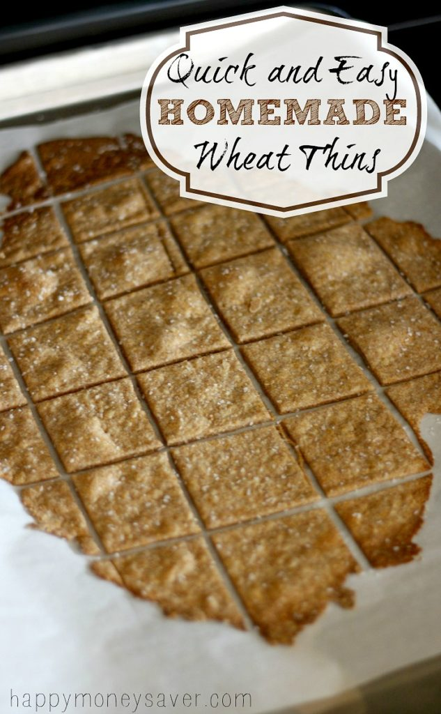 These Homemade Wheat Thin Crackers take about 10 minutes to make, taste better than store bought and are made with real ingredients that you can actually pronounce. Wheat Thins are my favorite kind of cracker. I can go through half a box in one sitting, easy. This can often result in no wheat thins around when I really want some. To fix this problem I have an incredibly easy recipe for Homemade Wheat Thin Crackers that in my opinion taste better and are made with real ingredients that I can actually pronounce. The recipe that I use has only a few simple ingredients; whole wheat flour, sugar, salt, paprika, butter, water and vanilla. I love that I always have these ingredients on hand and they only take about 10 minutes to bake. I've only made a few varieties of homemade crackers and these near the top of the list. They are crispy and crunchy but slightly chewy in the center. The perfect cracker!  Homemade Wheat Thin Crackers  First mix flour, sugar, salt and paprika to a bowl and whisk until well combined. Then with a knife or fork, cut butter into flour mixture until the mixture has a crumb like consistency.  These Homemade Wheat Thin Crackers take about 10 minutes to make, taste better than store bought and are made with real ingredients that you can actually pronounce.  It should look a little something like this.  These Homemade Wheat Thin Crackers take about 10 minutes to make, taste better than store bought and are made with real ingredients that you can actually pronounce.  These Homemade Wheat Thin Crackers take about 10 minutes to make, taste better than store bought and are made with real ingredients that you can actually pronounce.  Next mix together the water and vanilla (and honey if you're not using sugar) and pour into the flour mixture. Using your hands mix the water into the flour until a dough in formed.  These Homemade Wheat Thin Crackers take about 10 minutes to make, taste better than store bought and are made with real ingredients that you can actually pronounce.  Split the dough in half and roll out each half on a floured piece of parchment paper. Roll out as thin and evenly as you can (about 1/16 inch). Use a pizza cutter and cut dough into desired shapes of your choosing ( I like the traditional shape of squares, but I'm pretty boring).   These Homemade Wheat Thin Crackers take about 10 minutes to make, taste better than store bought and are made with real ingredients that you can actually pronounce.  These Homemade Wheat Thin Crackers take about 10 minutes to make, taste better than store bought and are made with real ingredients that you can actually pronounce.  Lift up parchment paper and place on a 2 separate baking sheets.  These Homemade Wheat Thin Crackers take about 10 minutes to make, taste better than store bought and are made with real ingredients that you can actually pronounce.  Bake at 400 degrees for 8-12 minutes making sure to rotate the pan halfway through to ensure even cooking. Watch them closely because they can burn quickly.  These Homemade Wheat Thin Crackers take about 10 minutes to make, taste better than store bought and are made with real ingredients that you can actually pronounce.  These Homemade Wheat Thin Crackers take about 10 minutes to make, taste better than store bought and are made with real ingredients that you can actually pronounce.  Cool completely and then make a yummy dip with my DIY Homemade Hidden Valley Ranch Mix. It is so good!   These Homemade Wheat Thin Crackers take about 10 minutes to make, taste better than store bought and are made with real ingredients that you can actually pronounce.  Below is the printable recipe. Happy baking!  Homemade Wheat Thin Crackers   Author: Karrie Prep time: 10 mins Cook time: 10 mins Total time: 20 mins Serves: 60 Ingredients 1 1/4 cups whole wheat flour 1 1/2 tbsp sugar or honey 1/2 tsp salt, plus extra for sprinkling on top 1/4 tsp paprika 4 tbsp salted butter 1/4 cup + 2 tbsp water 1/4 tsp vanilla Instructions add flour, sugar, salt and paprika to a bowl and whisk until well combined. with a knife or fork, cut butter into flour mixture until the mixture has a crumb like consistency. Mix together the water and vanilla (and honey if you're not using sugar) and pour into the flour mixture. Using your hands mix the water into the flour until a dough in formed. Split the dough in half and roll out each half on a floured piece of parchment paper. Roll out as thin and evenly as you can (about 1/16 inch). Use a pizza cutter and cut dough into desired shapes of your choosing. Lift up parchment paper and place on a baking sheet. Bake at 400 degrees for 8-12 minutes making sure to rotate the pan halfway through to ensure even cooking. Watch them closely because they burn quickly. Cool completely. Store in an airtight container. Recipe make about 60 crackers give or take.