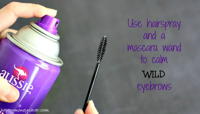 Get rid of your wild eyebrows by using hairspray and a mascara wand!  So easy I am not sure why I haven't been doing it!