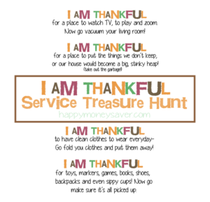 This is an awesome Thanksgiving to get your kids to help out and be more helpful. Go try out my service treasure hunt with free printables! #happythoughts #treasurehunt #thankful