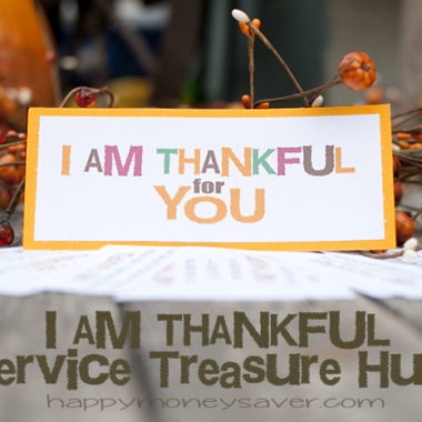Here is a fun idea to kick off your Thanksgiving season. Be sure to use this Service Treasure Hunt with free printable clues! #happythoughts #treasurehunt #thankful