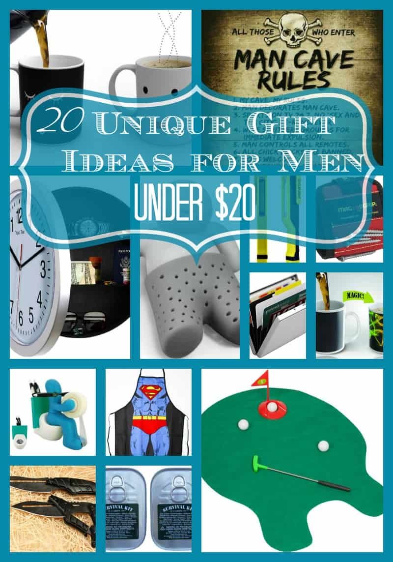 20 Unique Gift Ideas for Men Under $20 Buying a gift on a budget doesn't have to mean a boring gift! I've got 20 unique gift ideas for you!