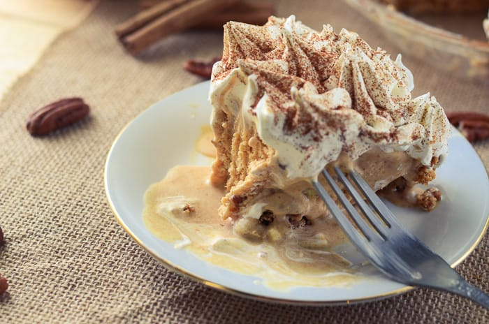 Mile High Pumpkin Sundae Pie - a pumpkin ice cream pie VINTAGE recipe from my Great Grandmother's 1900 recipe box. A gorgeous and delicious pie that is perfect for thanksgiving, or any special occasion.
