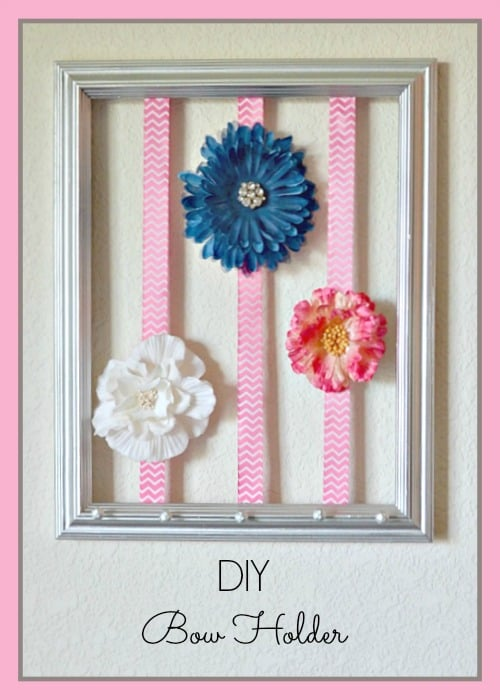 Diy picture frame bow holder so simple to make your own bow organizer at home with just a few items solutioingenieria Image collections