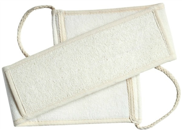 One long cream cloth loofah back scrubber with two woven handles