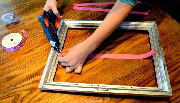 Glue Ribbon onto frame to make your own bow holder