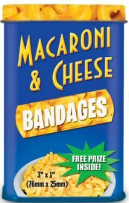 Macaroni and Cheese Bandages I would love to see the look on the face of the person who opens this gift!