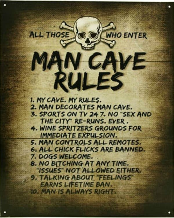 Man Cave Rules Poster Every man loves to claim his space and this is the perfect way!
