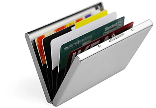 Stainless Steel Credit Card Holder open with cards in it.