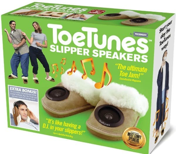 Toe Tunes Speaker Silpper Have someone on your list that loves music? This would be hilarious to watch them open!