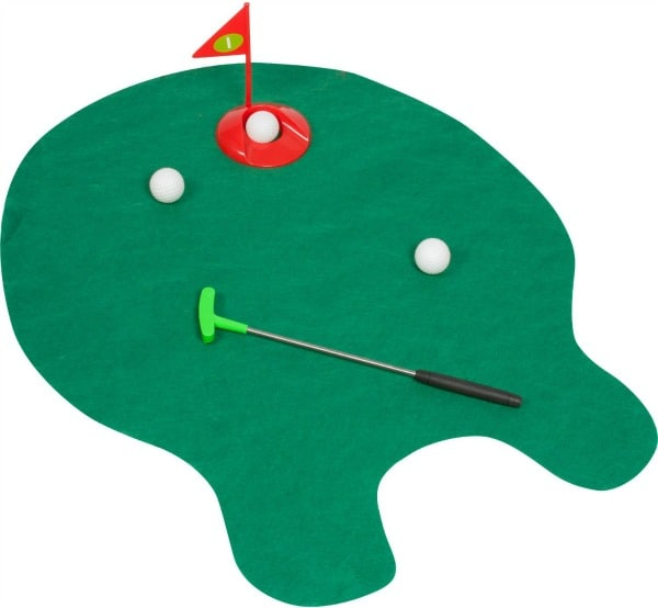 A toilet mat that looks like a golf course with balls and a putter.