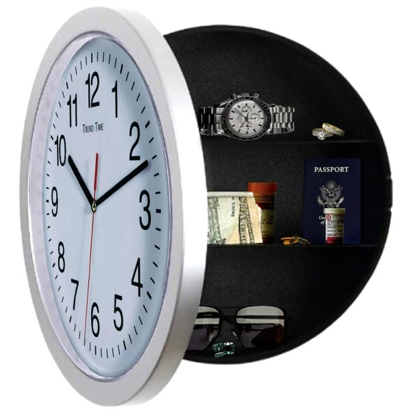 A wall clock with a hidden compartment with money, watches, passport and items in it.