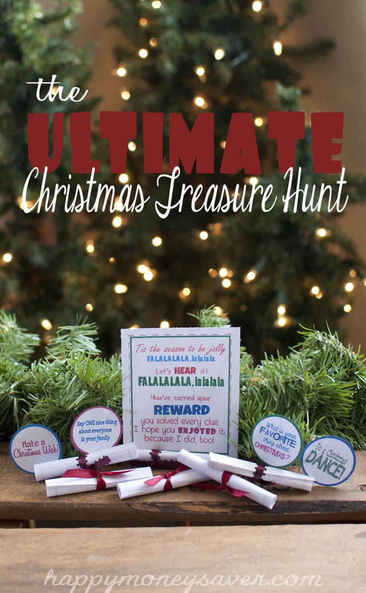 """A garland holding up clues and saying the words """"The Ultimate Christmas Treasure Hunt."""""""