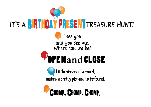Spice up you gift giving with this perfect Birthday Present Treasure Hunt! #happythoughts #birthday #treasurehunts