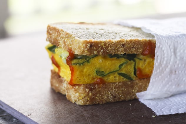 This protein packed breakfast sandwich would be a great start to your day!