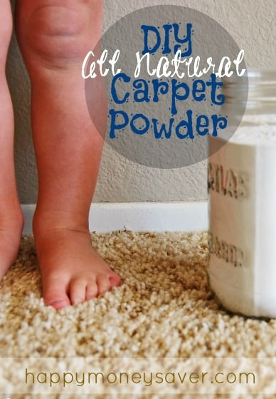 Want that new carpet feel but short on time? This homemade carpet powder recipe is a quick way to freshen your house using two all natural ingredients! Get the recipe at happymoneysaver.com