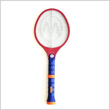 A mosquito zapper swatter in red, blue and orange.
