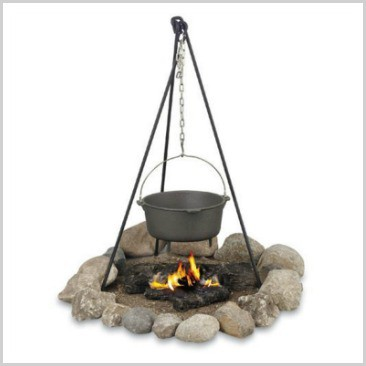 A cast iron campfire tripod to hold your Dutch oven over a fire.