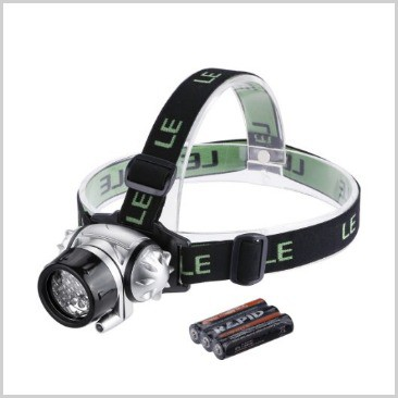 A headlamp with batteries on the side on a list of 18 cool camping equipment ideas.