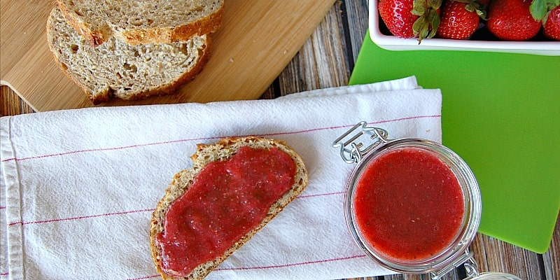 This jam is soooo good! You don't cook it so it is super easy and you keep the fresh strawberry taste! Plus it is very healthy!- Happymoneysaver.com