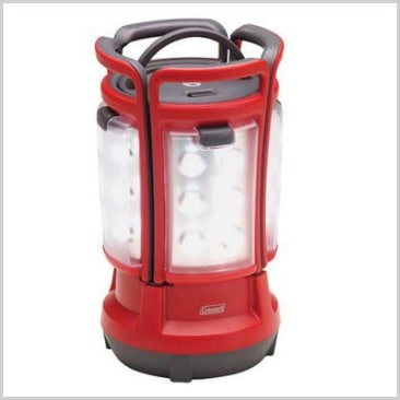 A red lantern set up and lit up in a list of cool camping equipment.