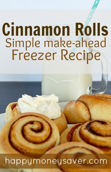 happymoneysaver.com | This easy cinnamon roll recipe is delicious. I'm going to make them the week before and freeze so they are ready to pop in the oven on Mother's Day!