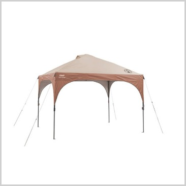 A brown canopy set up with four lines set out.