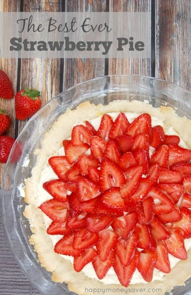 This really is the best strawberry pie recipe from happymoneysaver. It's almost like a cheesecake and has this orange glaze that really takes it over the top!