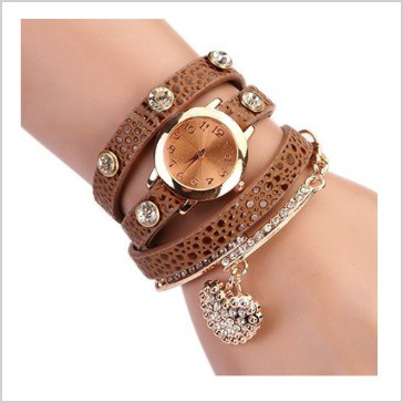 Women S Fashion Rhinstone Faux Leather Wrap Bracelet Quartz Watch With Heart Pendant Brown Isn T This A Beautiful