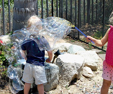 I love this homemade soap bubble recipe because the ingredients are so simple! My kids had hour of fun making huge bubbles that took forever to pop!   Happymoneysaver.com
