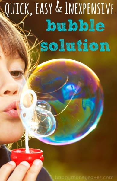 I love this homemade soap bubble recipe because the ingredients are so simple! My kids had hours of fun making huge bubbles that took forever to pop!   Happymoneysaver.com