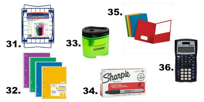 Your one stop back to school supply list for college down to elementary school including 50 items at thrifty prices to help you save. happymoneysaver.com