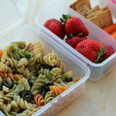 Simple delicious pasta salad makes a great bento style lunch for school kids.