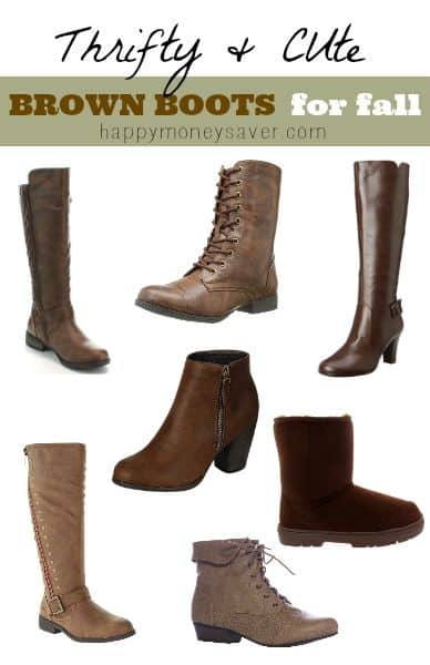 15 cute and affordable brown boots for women. This will definitely get you excited for fall. There are a variety of options to choose from and all on sale! - happymoneysaver.com