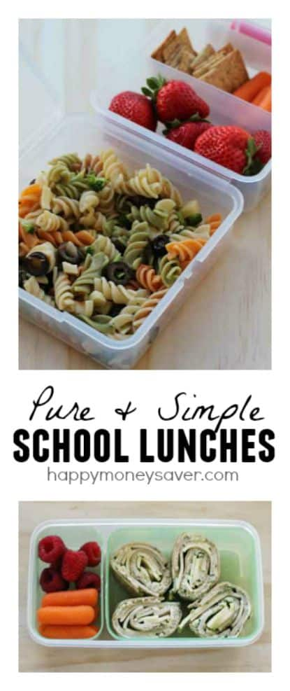 Easy Ideas for kids school lunches using some organic items including my simple pasta recipe, bento box fun and pesto turkey pinwheels.