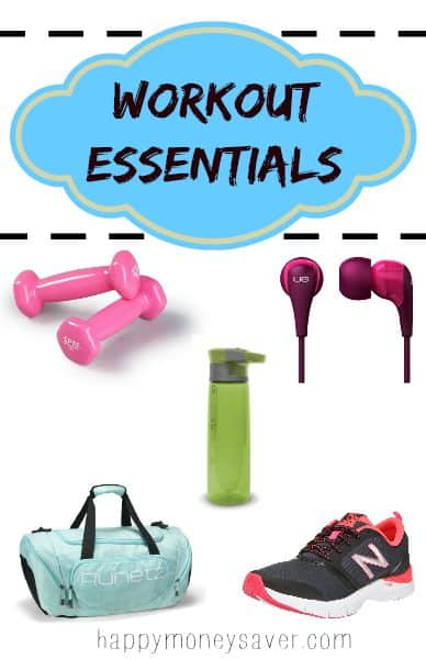 Awesome list of 20 workout essentials that will help you started and get you motivated to get up and get moving. -happymoneysaver.com