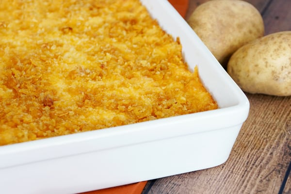 This Cheesy Potatoes Recipe is absolutely delicious and so easy to make! You'll want to stock up your freezer, it's perfect with breakfast, lunch or dinner! | happymoneysaver.com
